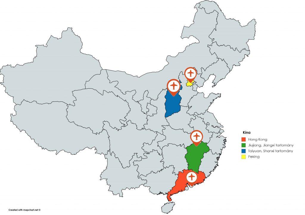 A kínai kórusturné során érintett helyek: Hong Kong, Jiujiang a Jiangxi tartományban, Taiyuan a Shanxi tartományban, és Peking